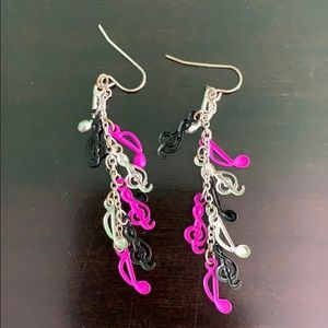 Pink and black music earrings